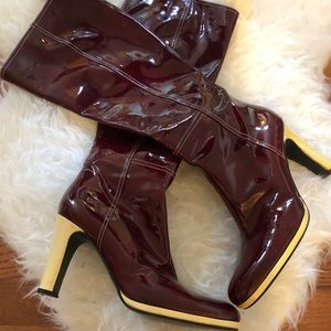 Via Spiga Patent Leather Calf High Boots Sz 10